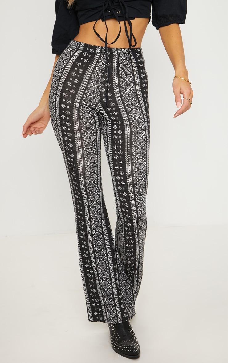 Black Stripe Jersey Printed Flare Trouser 2