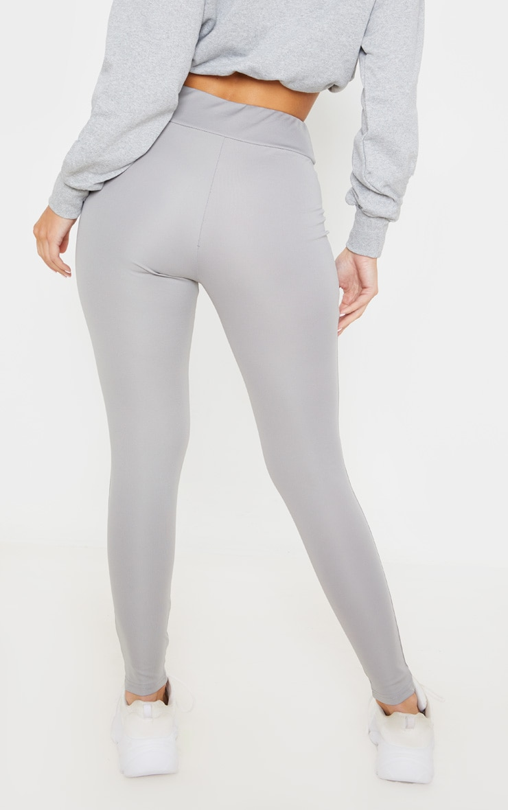 Grey Lace Up High Waisted Leggings 4