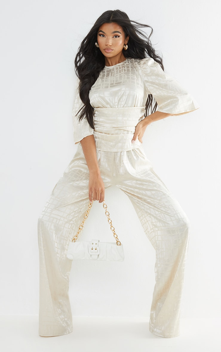 Champagne Satin Jacquard Short Sleeve Ruched Jumpsuit 1