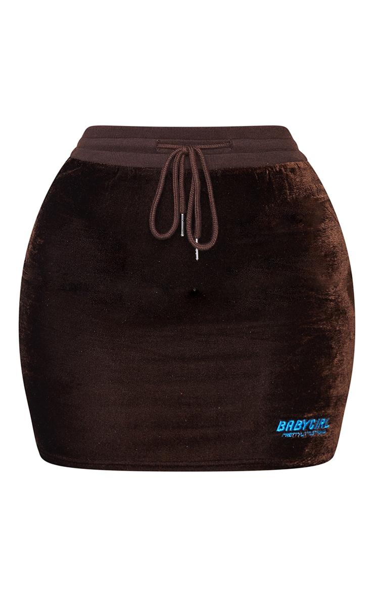 PRETTYLITTLETHING Shape Brown Baby Girl Velour Bodycon Skirt 6