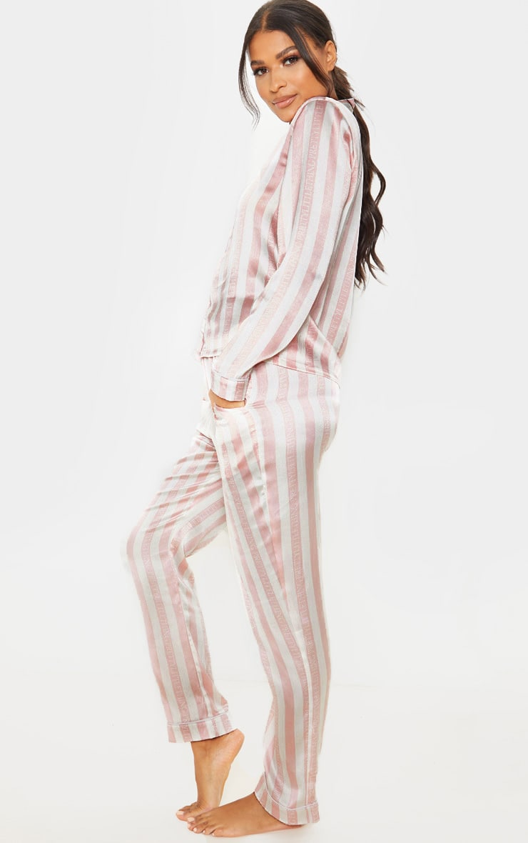 PRETTYLITTLETHING Baby Pink Long Striped Satin PJ Set 4