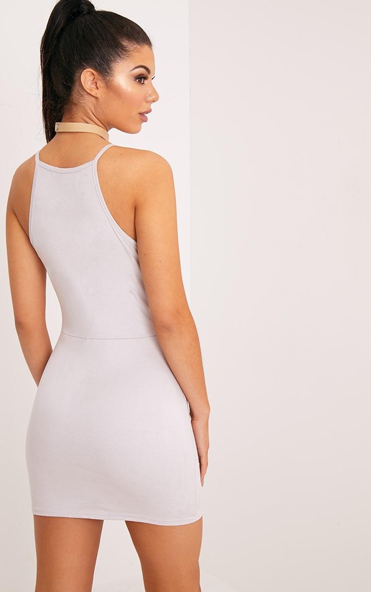 Rosalin Ice Grey Faux Suede Bodycon Dress 2
