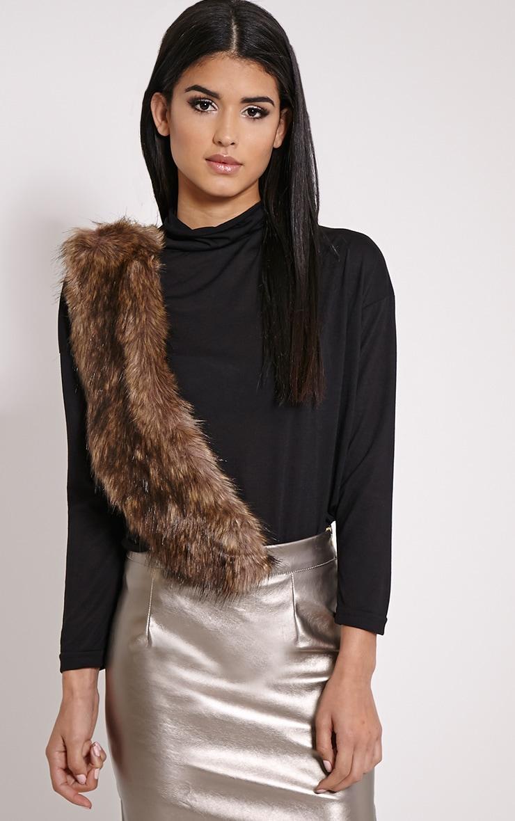 Kira Brown Faux Fur Collar 4