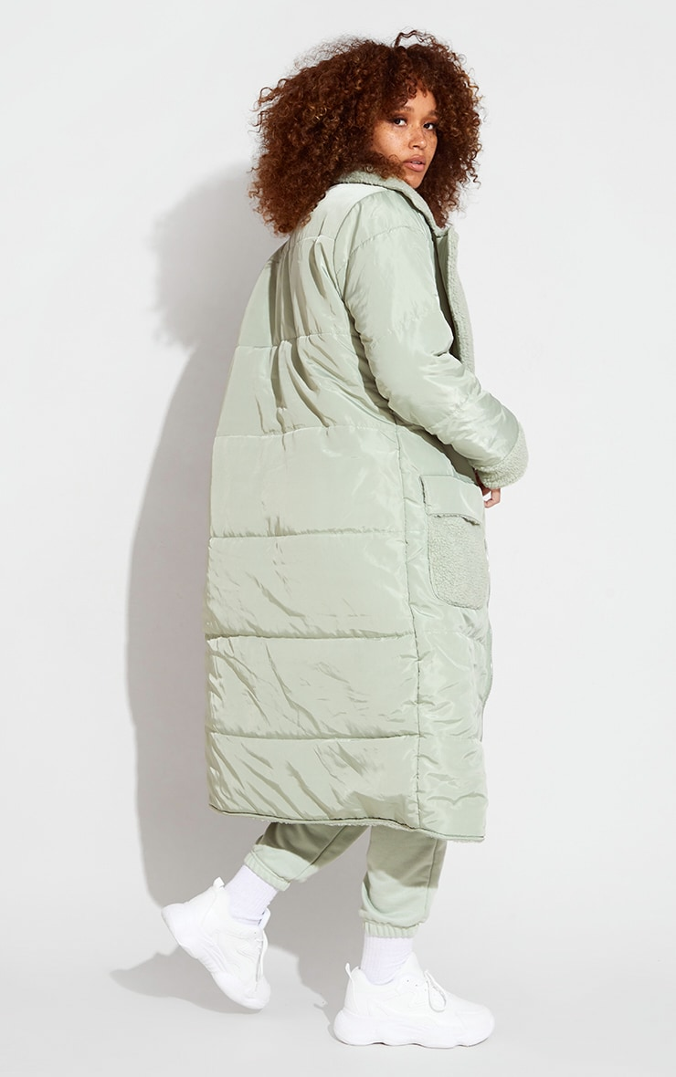 Sage Green Borg Reversible Nylon Maxi Coat 2