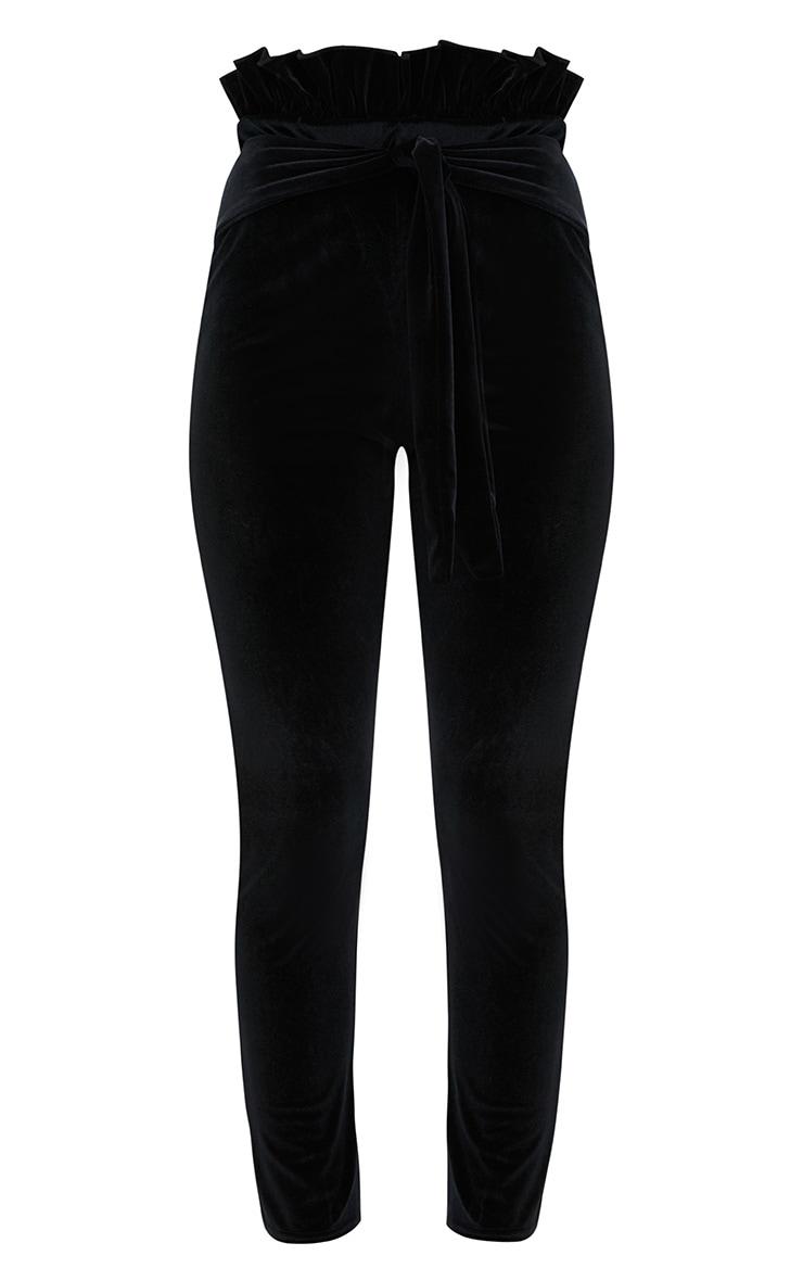 Black Velvet Paperbag Skinny Trousers 3
