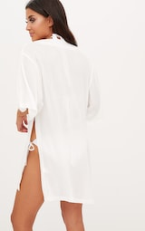160f51609e95 White Oversized Lace Up Cheesecloth Beach Cover Up. Swimwear ...