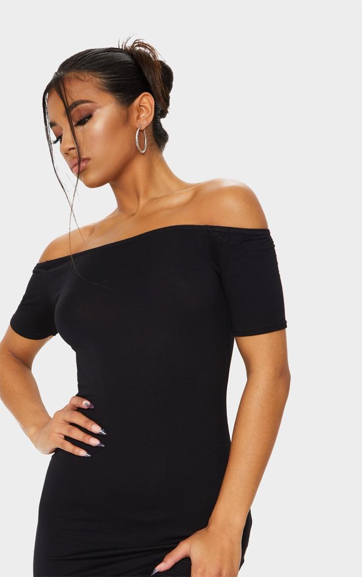 Basic Black Short Sleeve Bardot Bodycon Dress 4