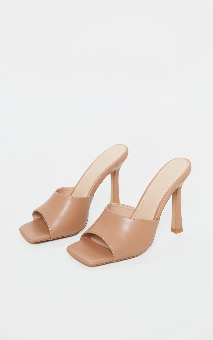 Camel Square Toe Mule High Heels 3
