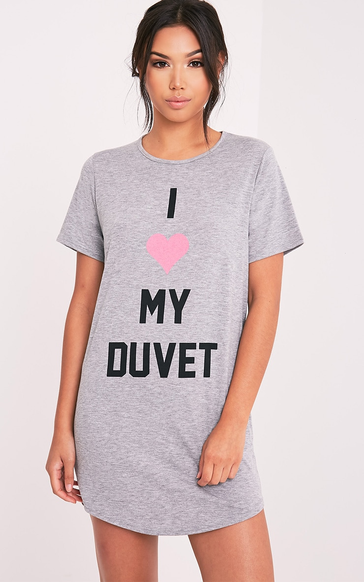 Chemise de nuit surdimensionnée gris chiné I Love My Duvet 1