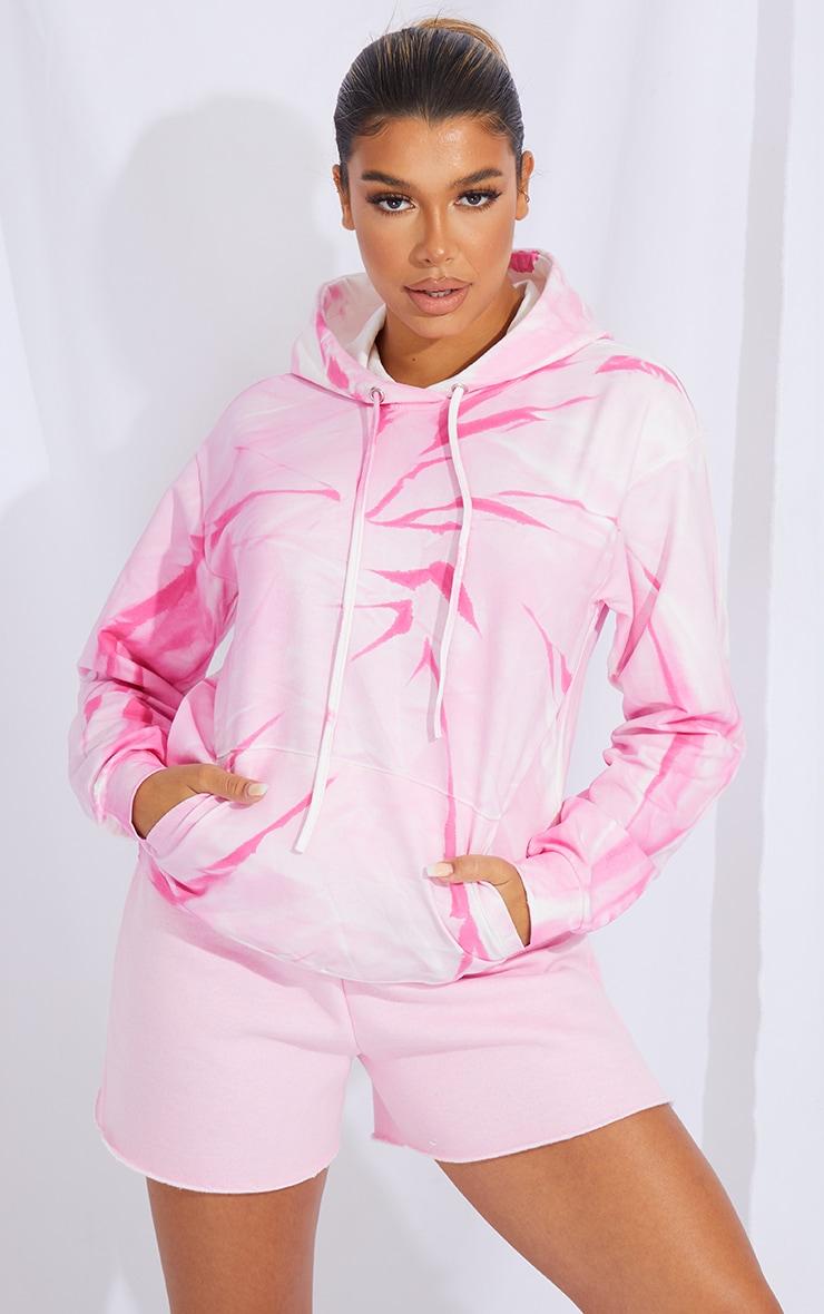 Hot Pink Tie Dye Oversized Hoodie 1
