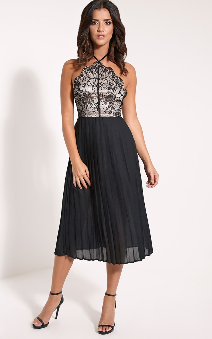 Cristabel Black Lace Halterneck Pleated Midi Dress 1