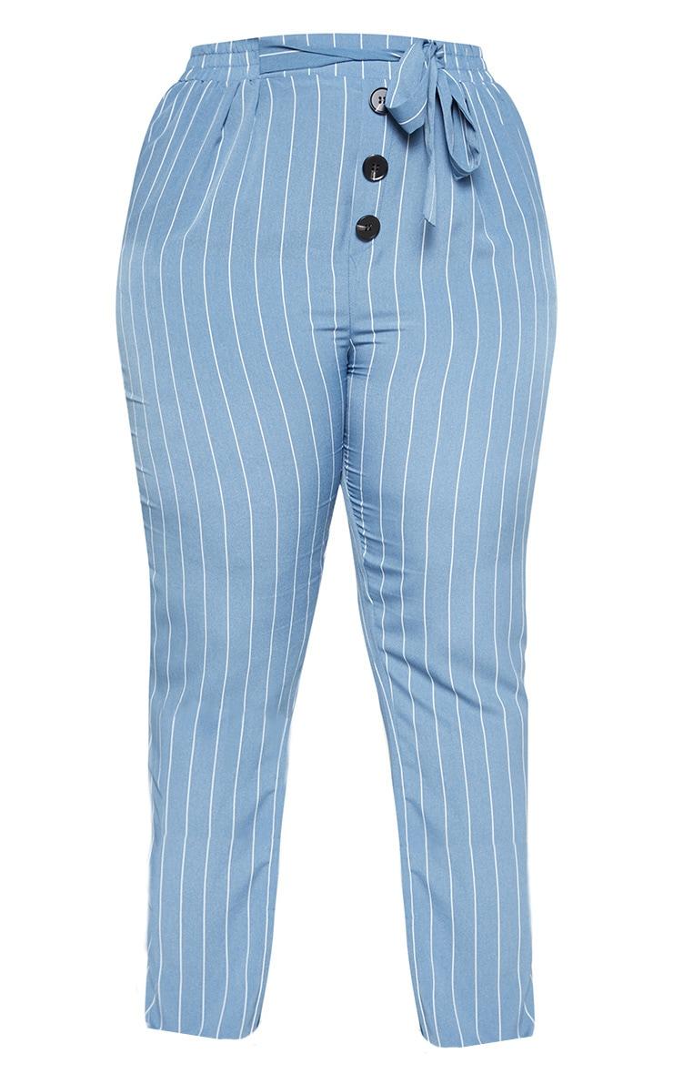 Plus Dusty Blue Pinstripe Button Detail Casual Pants 3