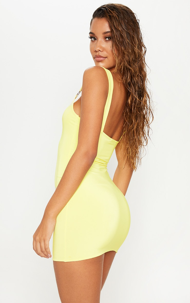Yellow Slinky Ring Detail Square Neck Bodycon Dress  2