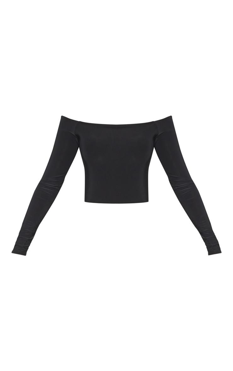 Black Slinky One Shoulder Crop Top 3