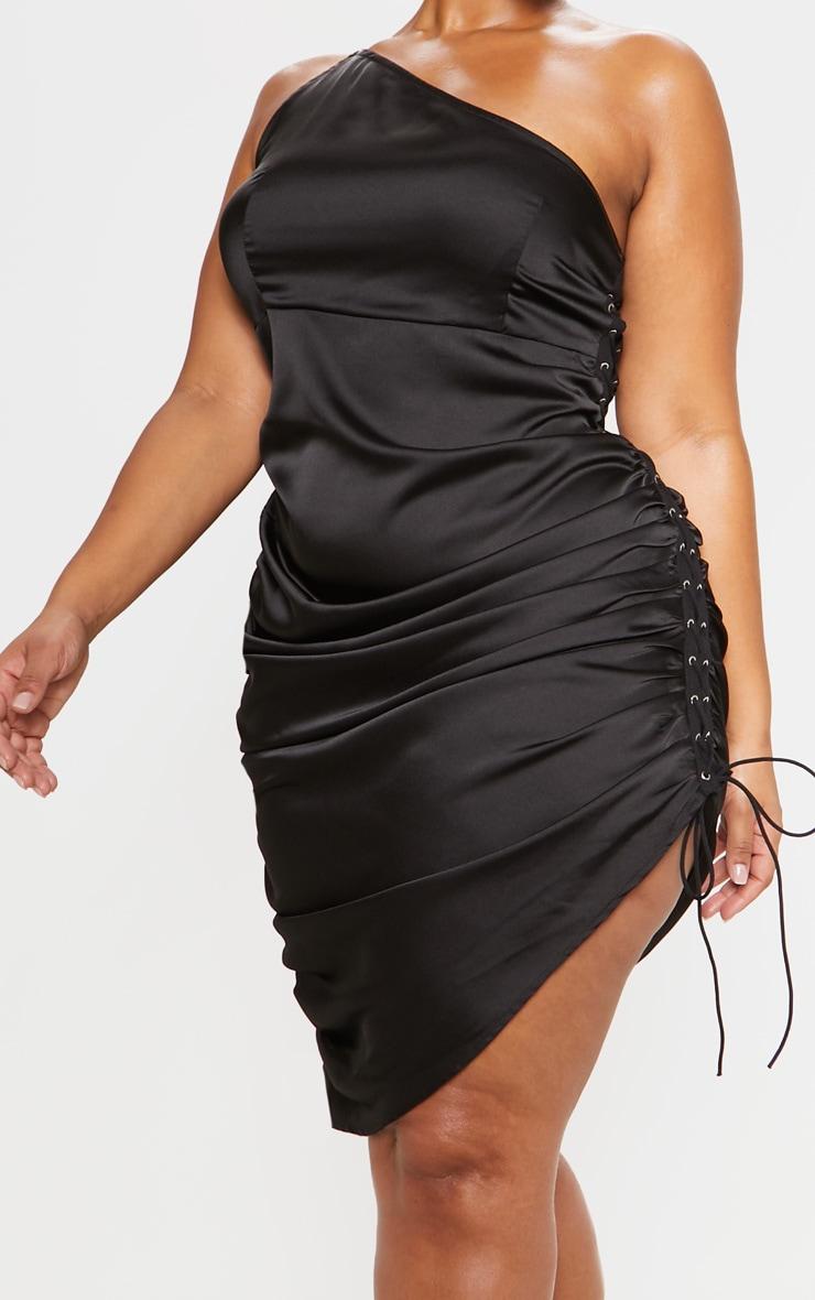 Black Satin Lace Up Side One Shoulder Midi Dress 6