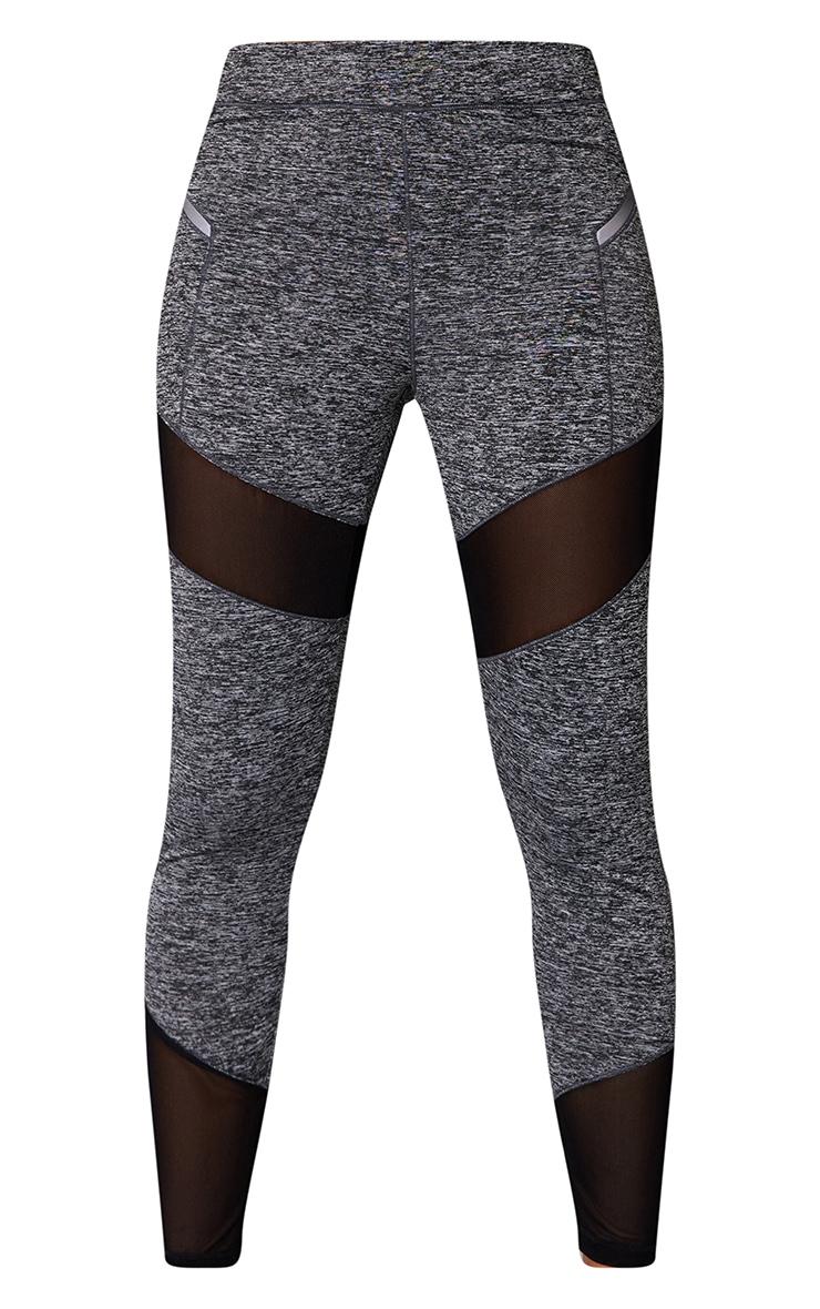 Grey Mesh Panel Marl Gym Legging 5