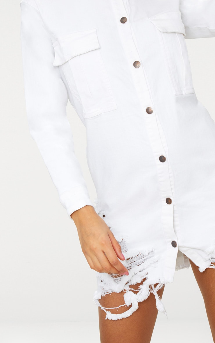 White Super Distressed Denim Shirt Dress 4