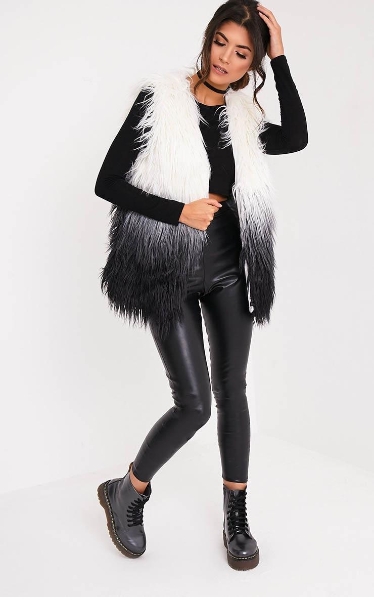 Cher veste sans manche noire ombrée en fausse fourrure 5