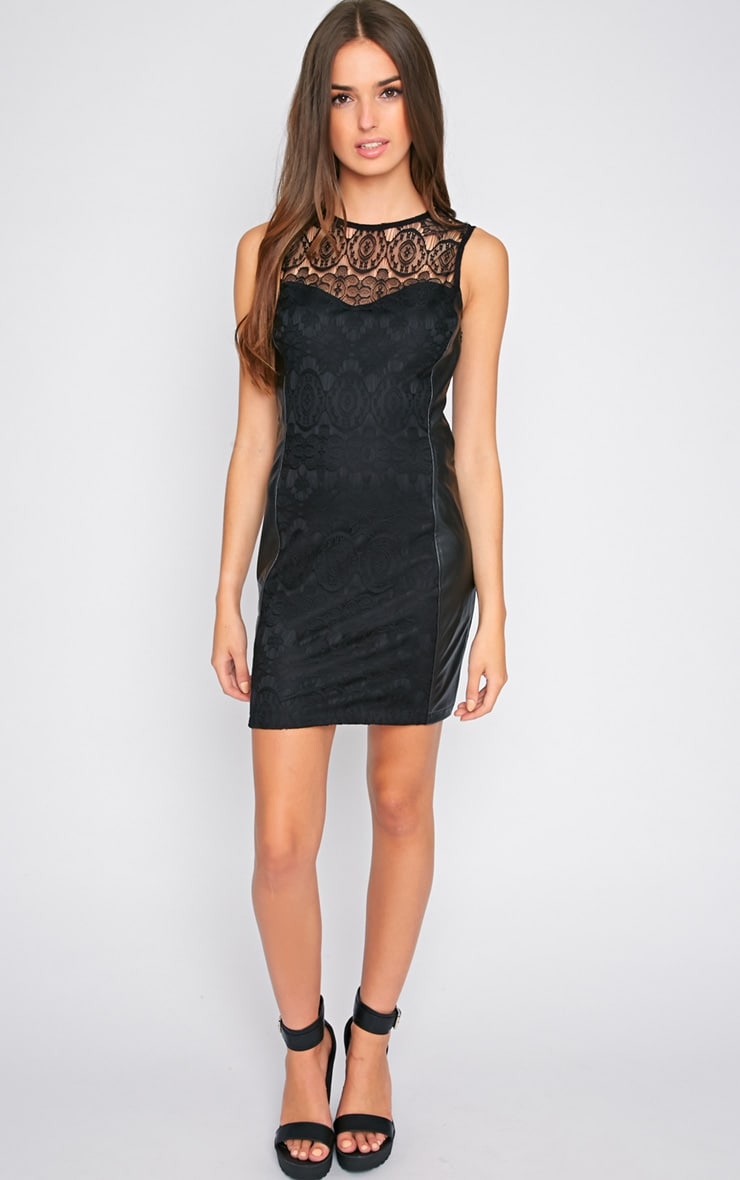 Annora Black Lace & Leather Bodycon Dress  3