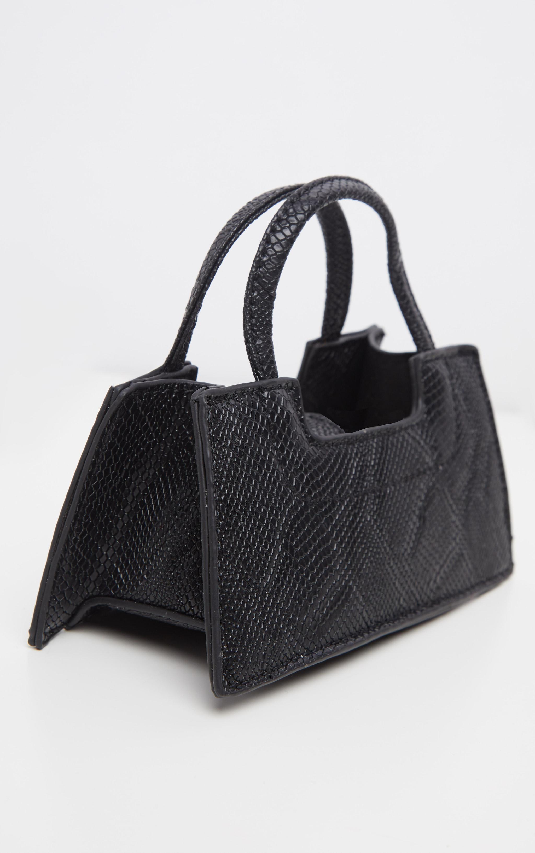 Black Croc Trapeze Micro Mini Bag 3