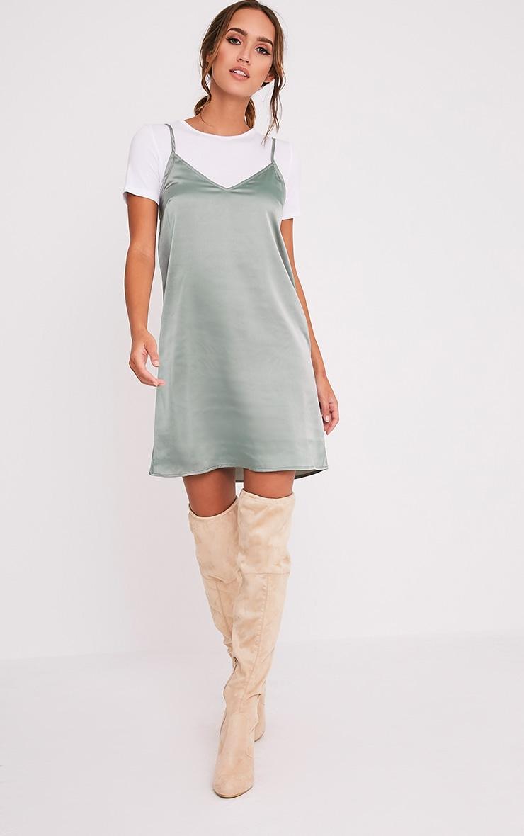 Stephany Sage Green Satin Slip Dress 5
