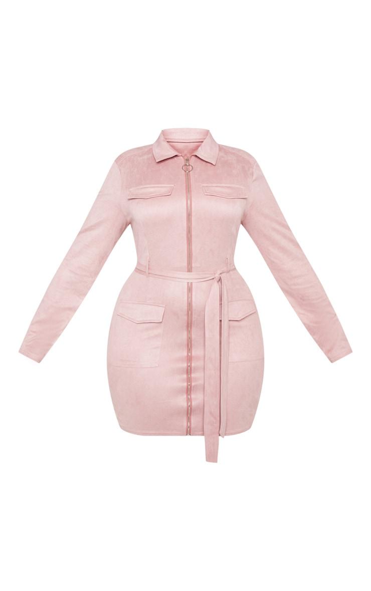 PLT Plus - Robe moulante rose cendré en suédine à poches  3