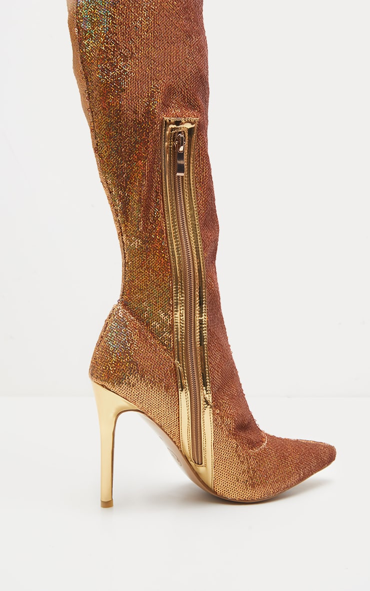 Gold Over The Knee Sequin Sock Boot  4
