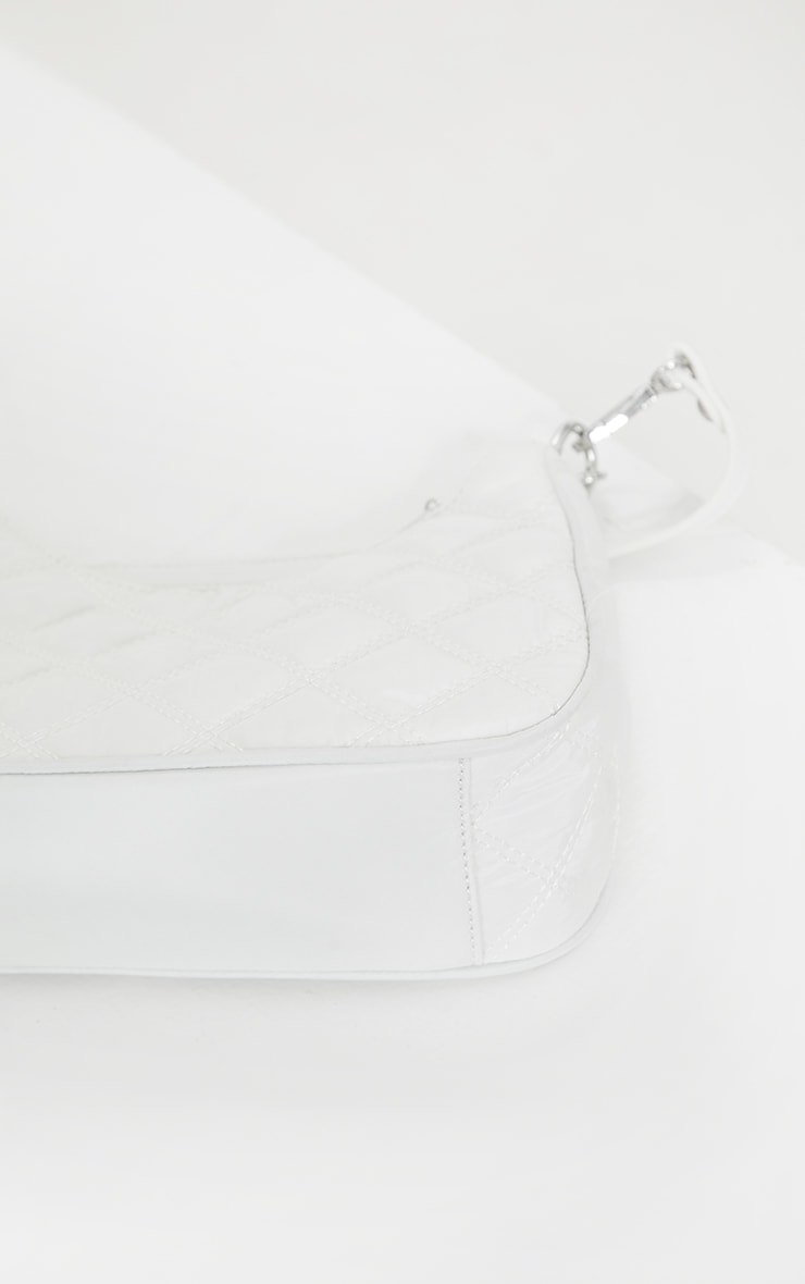 White Quilted Silver Chain Detail Shoulder Bag 3