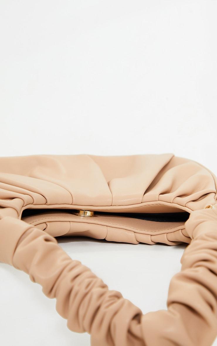 Tan Rouched Handle Shoulder Bag 4