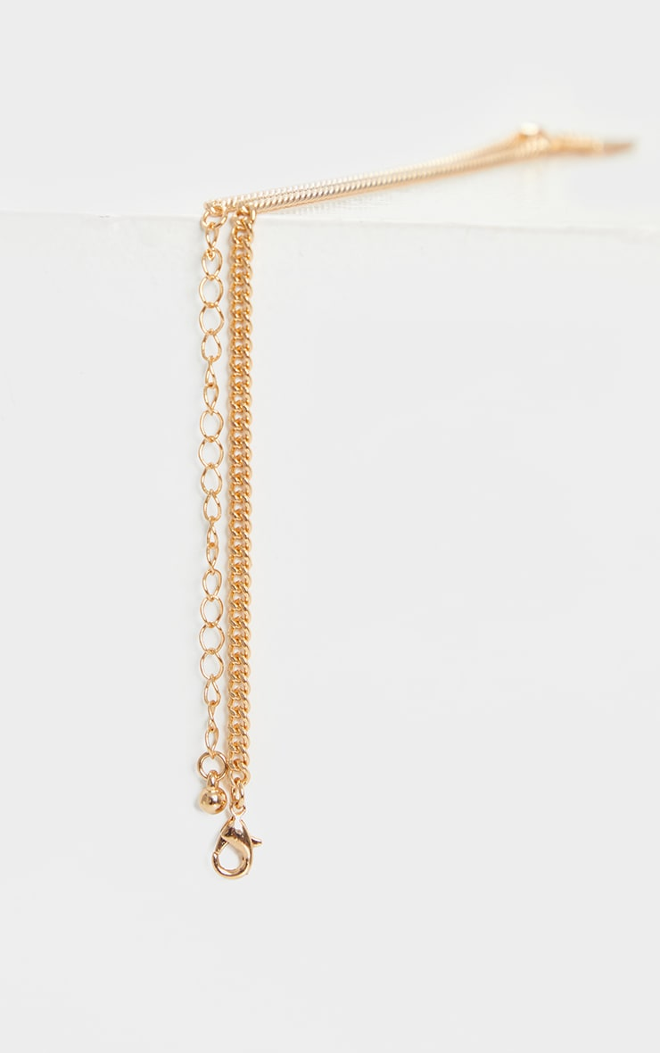 Gold Square Diamante Dragon Necklace 4