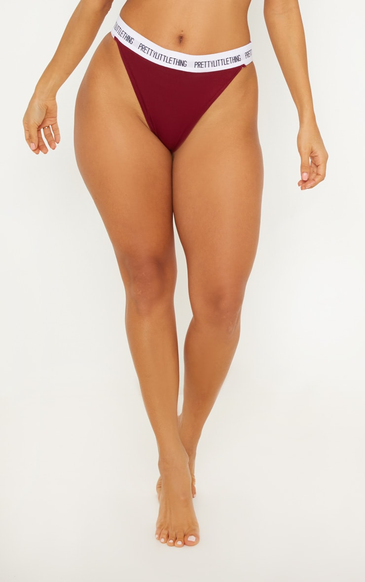 PRETTYLITTLETHING Maroon High Rise Panties 2