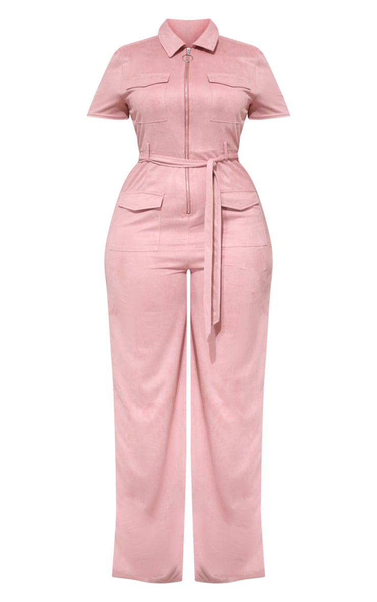 Plus Rose Pink Faux Suede Zip Detail Jumpsuit 3