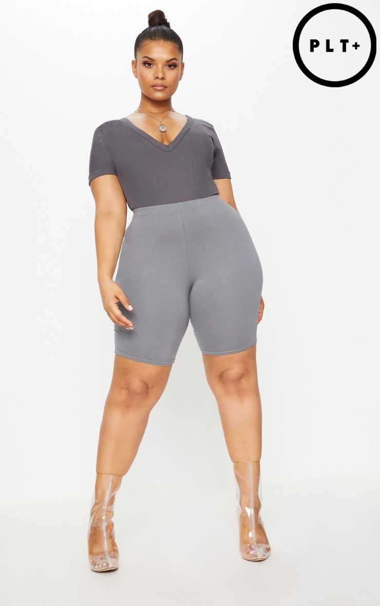 Plus Charcoal Ribbed Plunge Short Sleeve Bodysuit