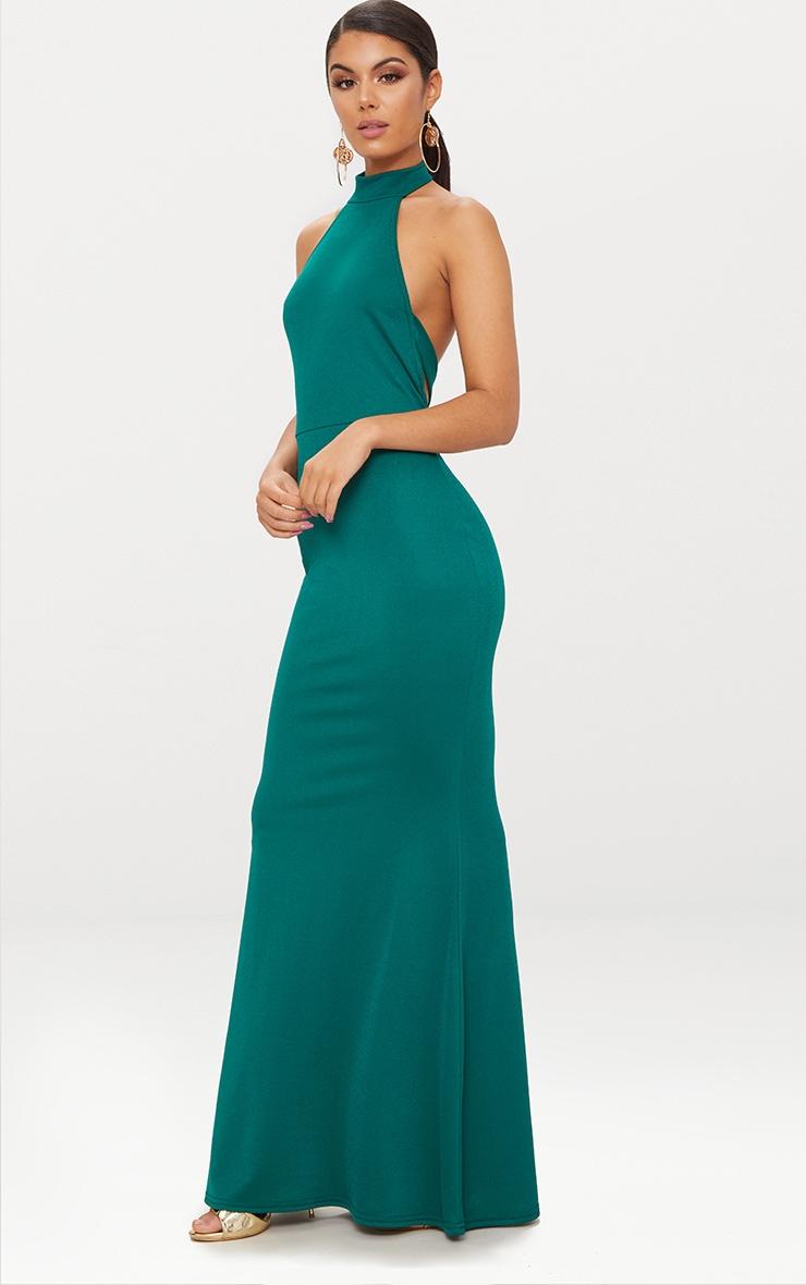 Emerald Green Cross Back High Neck Maxi Dress 4
