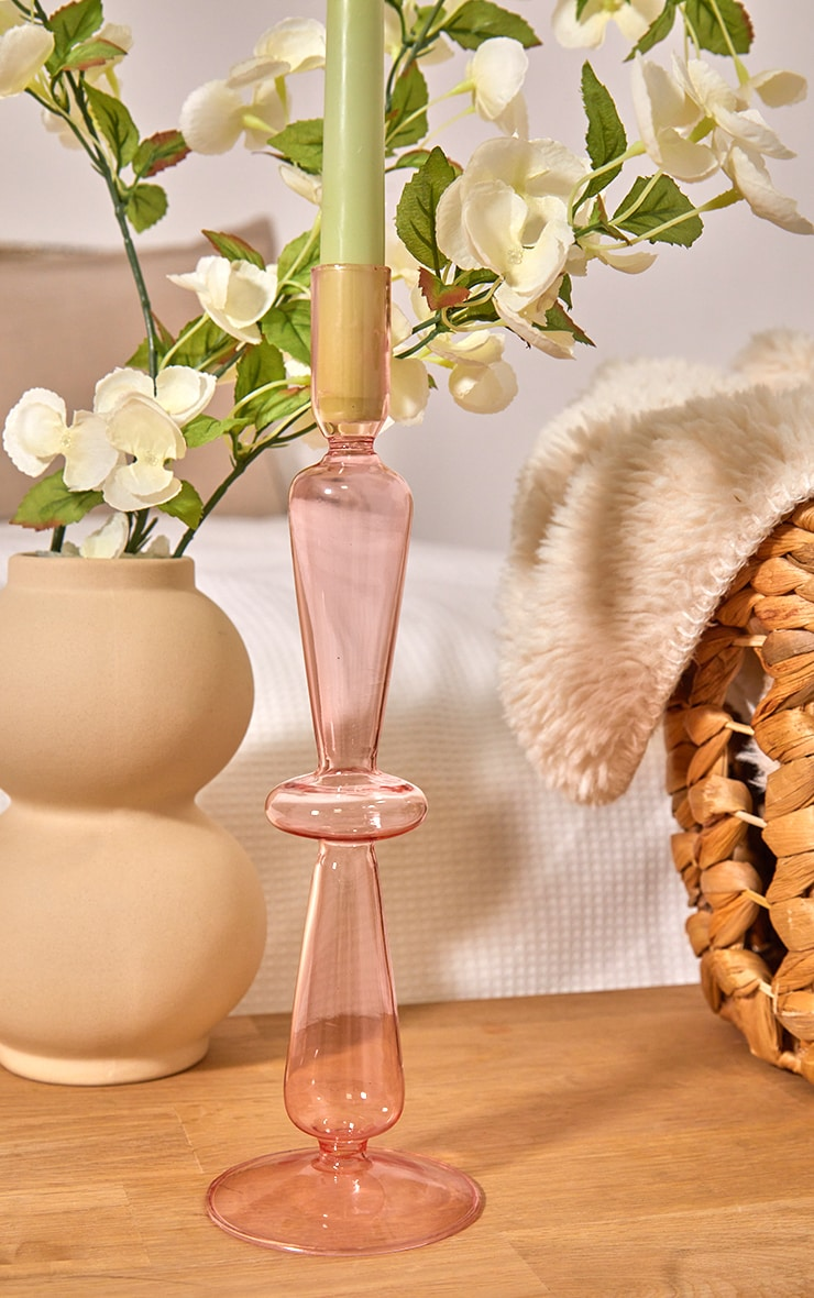 Pink Tall Chess Style Glass Candlestick Holder 1