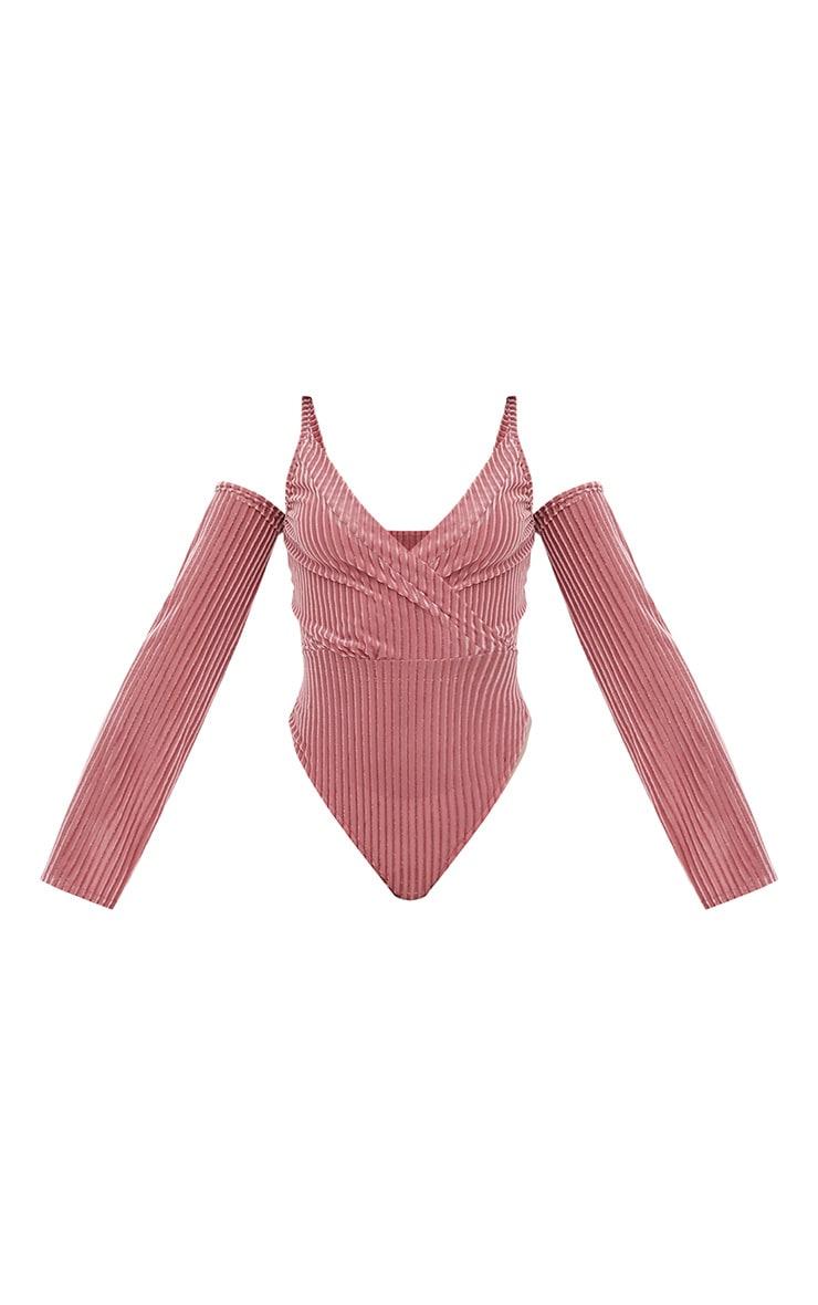 Blush Contrast Velvet Cold Shoulder Thong Bodysuit  3