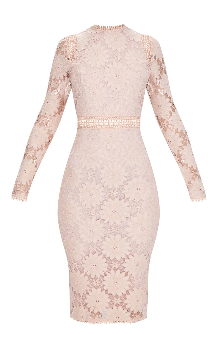 Dusty Pink Long Sleeve Lace Bodycon Dress 3
