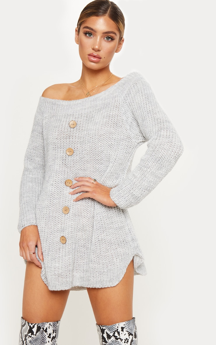 Grey Knit Bardot Button Detail Sweater Dress 1
