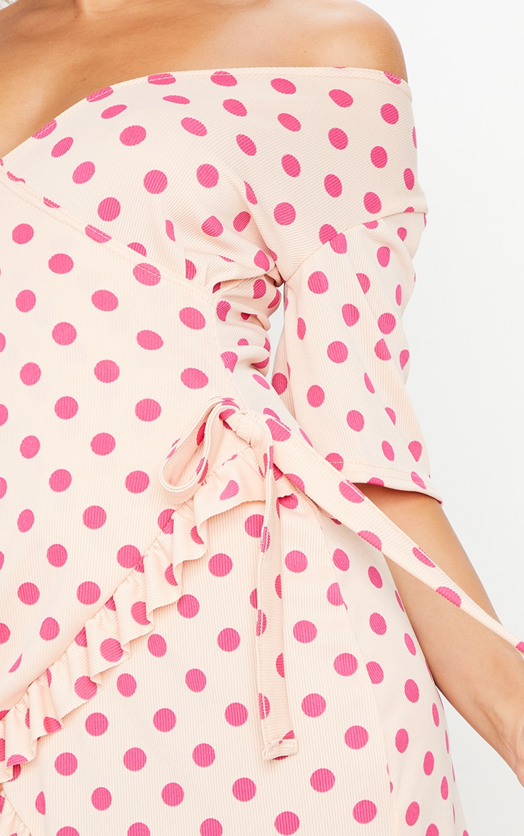 Pink Polka Dot Print Rib Wrap Frill Hem Tea Dress 4