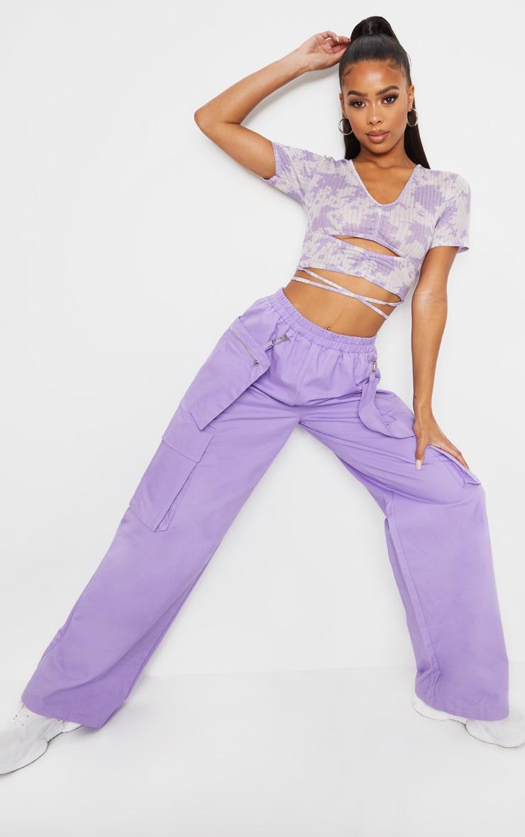 Lilac Acid Wash Rib Ruched Tie Crop Top 3