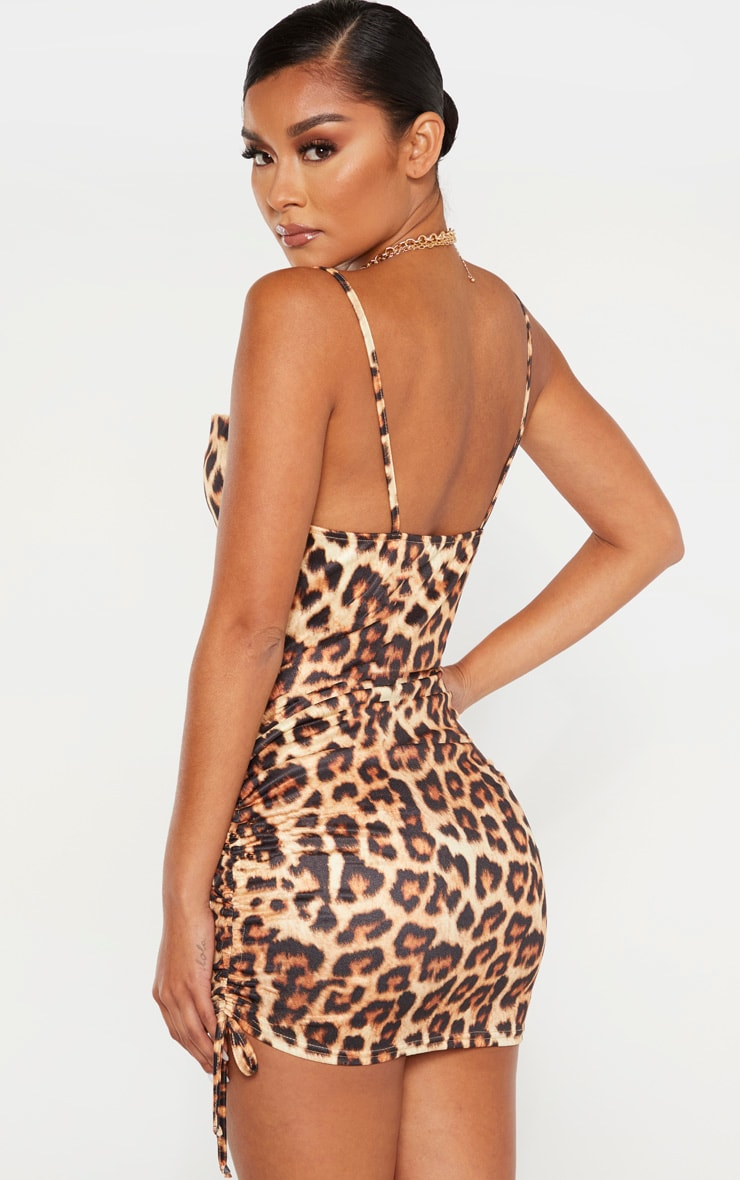Tan Cowl Neck Leopard Print Ruched Side Bodycon Dress 2