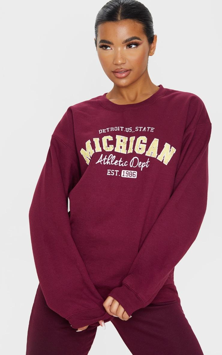 Sweat bordeaux à slogan Michigan 1