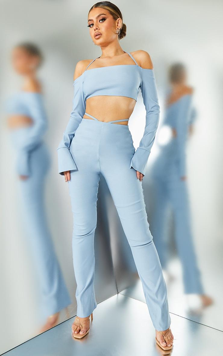 Light Blue Stretch Woven Halterneck Bardot Crop Top 3