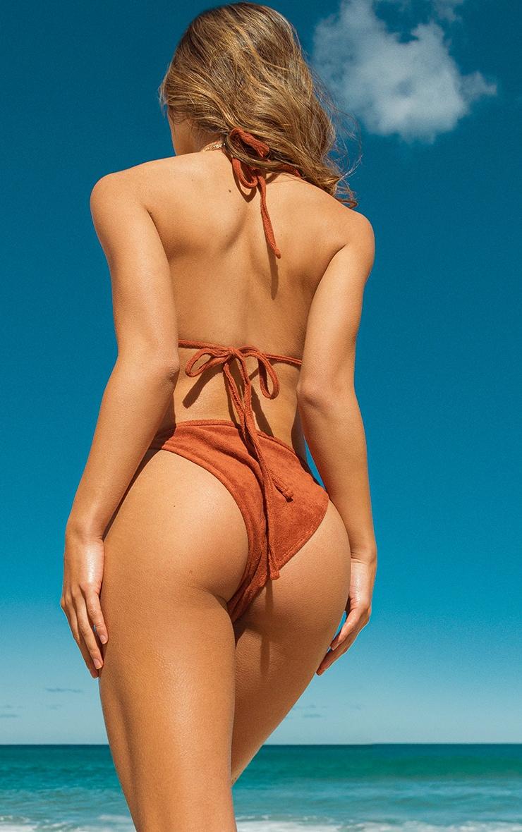 Brown Towelling Tie Side Bikini Bottoms 1