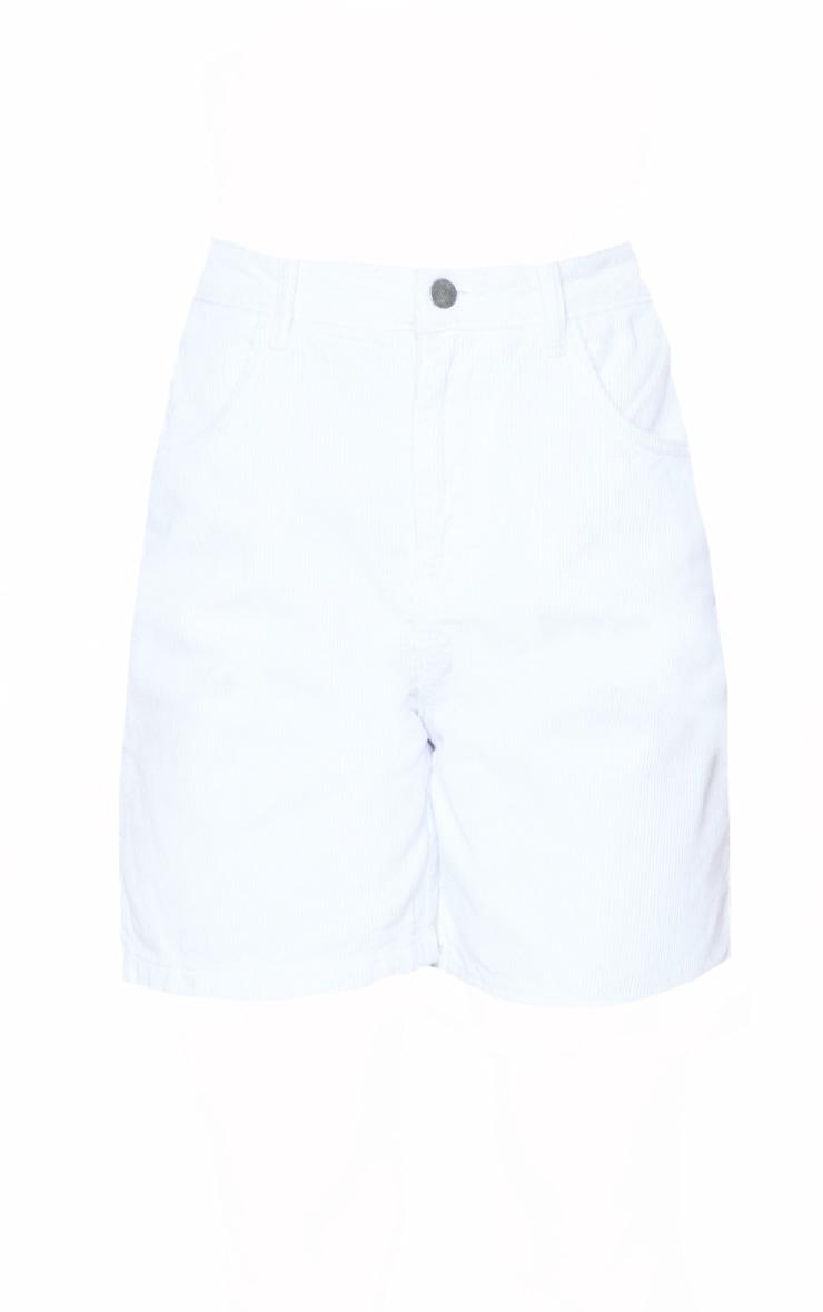 White Cord Boyfriend Shorts 6
