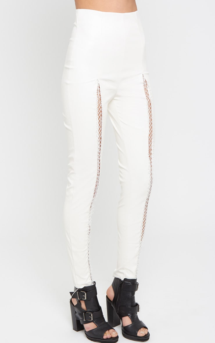 Nisha White Lace Front Leather Trouser 4