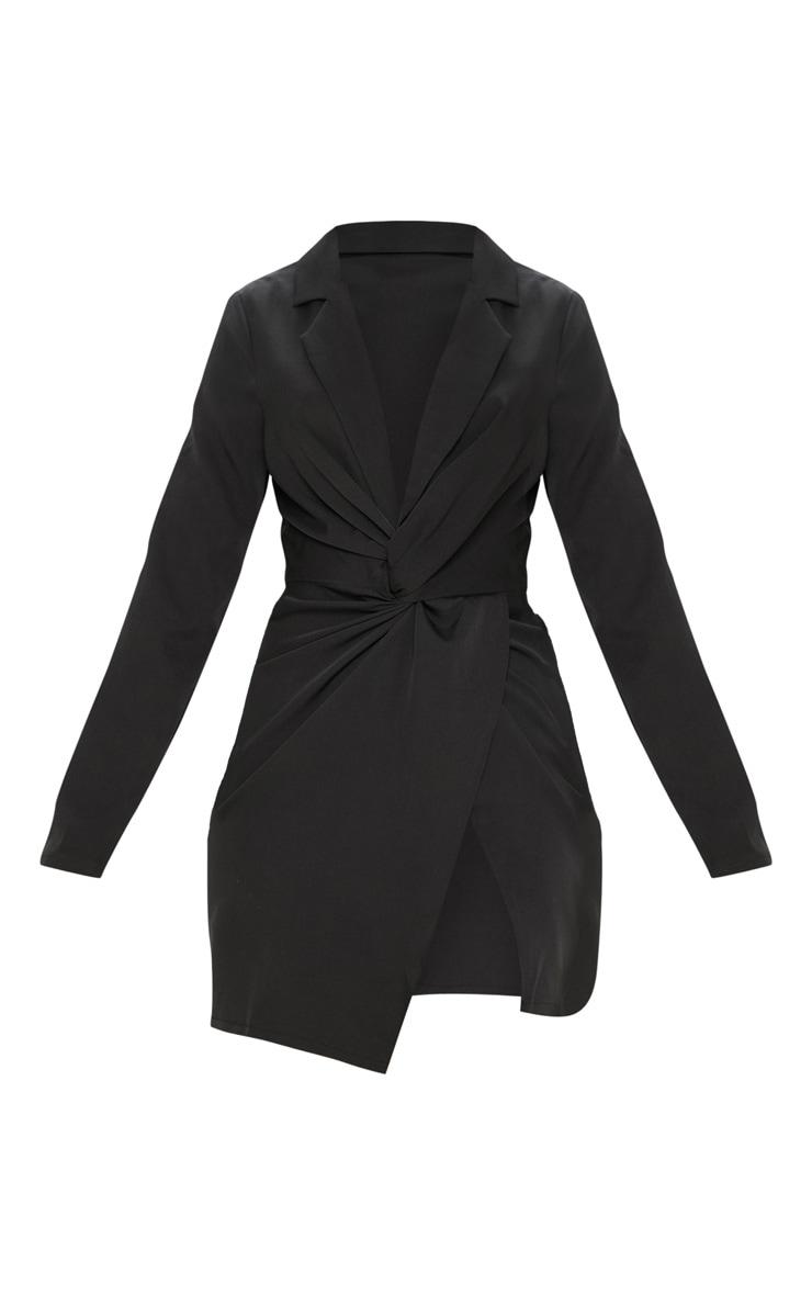 Black Knot Detail Wrap Blazer Dress 3