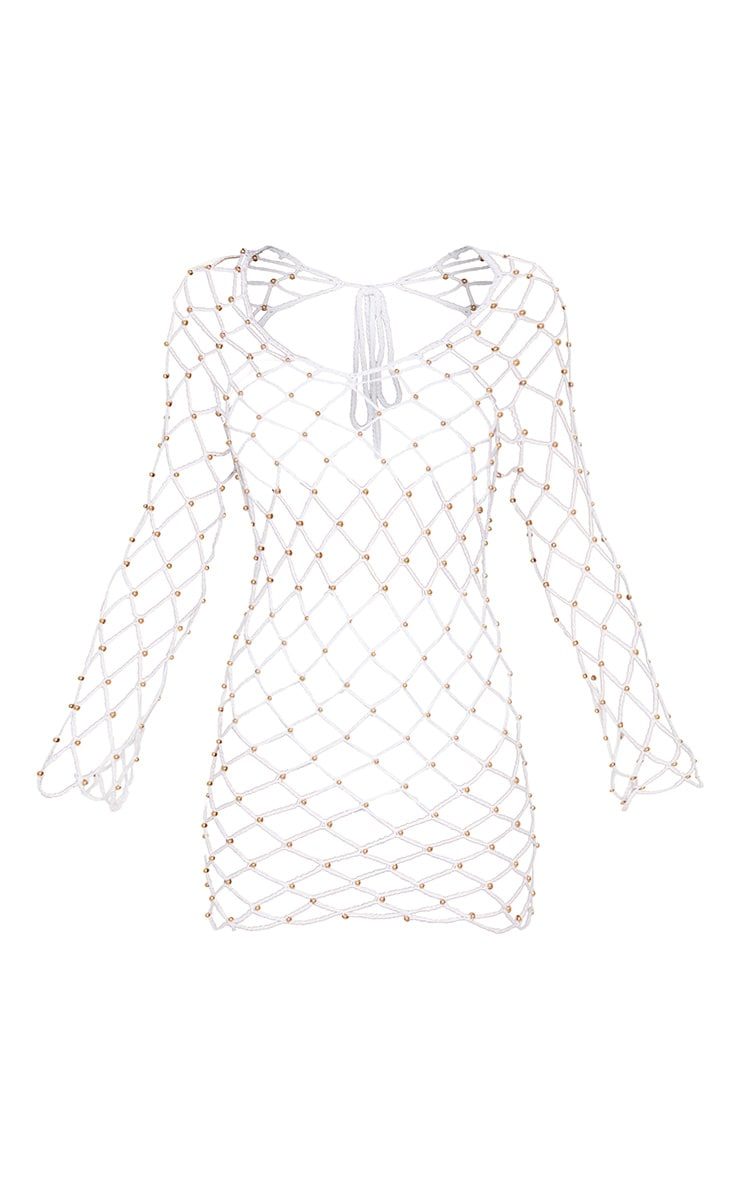 White Crochet Beaded Long Sleeve Dress 3