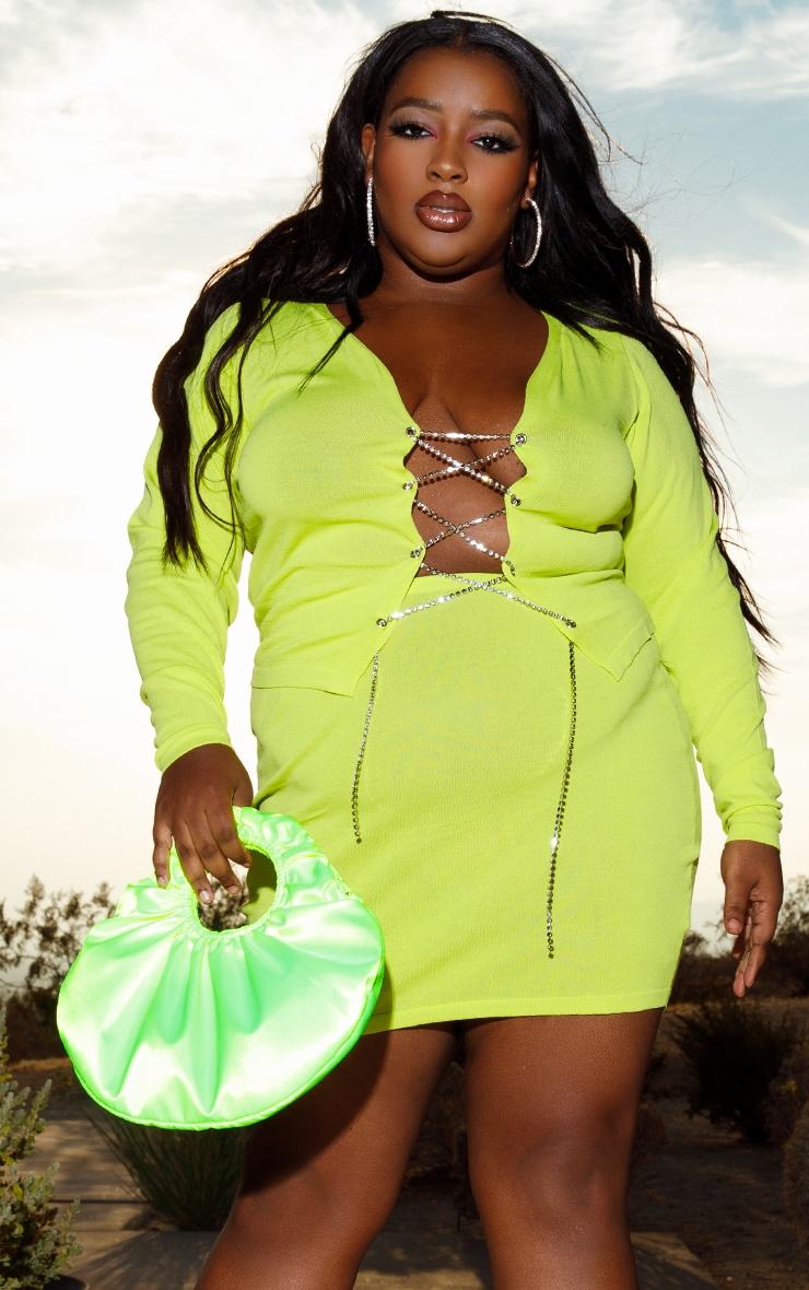 PLT Plus - Mini-jupe en maille tricot vert citron 5