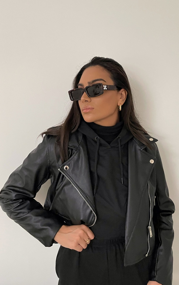 Black PU Biker Jacket With Zips  1